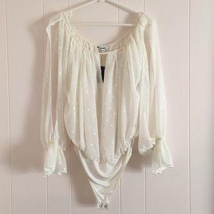 Express •NWT White Flowy Embroidered Boho Bodysuit